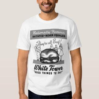 Hamburguesas blancas de la torre del vintage remera