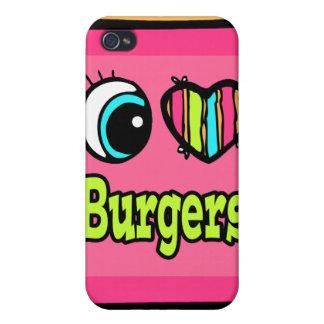 Hamburguesas brillantes del amor del corazón I del iPhone 4 Coberturas