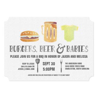 """Hamburguesas, cerveza, y bebés - la fiesta de invitación 5"""" x 7"""""""
