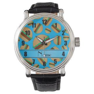 Hamburguesas conocidas personalizadas del azul de relojes de mano