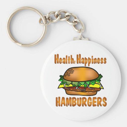Hamburguesas de la felicidad de la salud llaveros personalizados