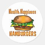 Hamburguesas de la felicidad de la salud pegatina redonda