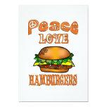 Hamburguesas del amor de la paz invitación 12,7 x 17,8 cm