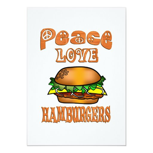 Hamburguesas del amor de la paz invitaciones personales