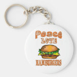 Hamburguesas del amor de la paz llavero personalizado