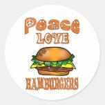 Hamburguesas del amor de la paz pegatina redonda
