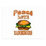 Hamburguesas del amor de la paz postal