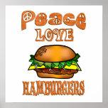 Hamburguesas del amor de la paz poster