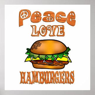 Hamburguesas del amor de la paz póster