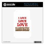 Hamburguesas del amor del amor iPod touch 4G calcomanía