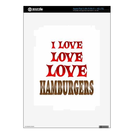 Hamburguesas del amor del amor pegatinas skins para iPad 3