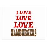 Hamburguesas del amor del amor tarjetas postales