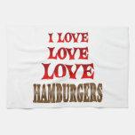 Hamburguesas del amor del amor toallas de cocina