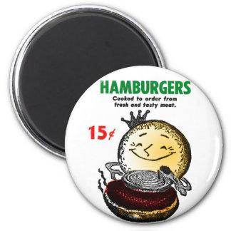 Hamburguesas 'solamente 15¢' del vintage del kitsc imán redondo 5 cm