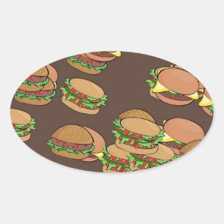Hamburguesas y cheeseburgers pegatina ovalada