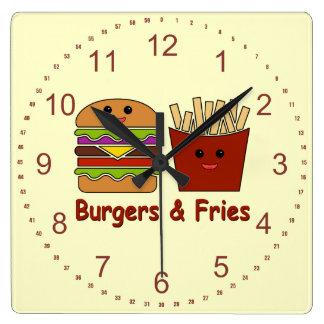 Hamburguesas y fritadas reloj cuadrado