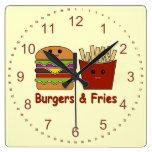 Hamburguesas y fritadas relojes de pared
