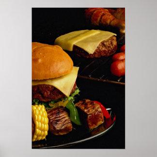Hamburguesas y kebabs sabrosos para los amantes de póster