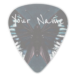HAMbWG   Guitar Pics - Butterfly in a Teal Blue White Delrin Guitar Pick