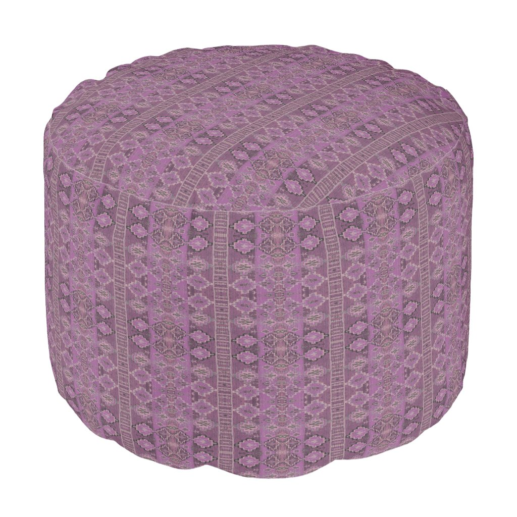 HAMbyWG - Cotton Round Pouf Chair - Purple Boho