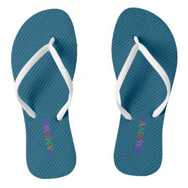 Beach Themed HAMbyWG - Flip-Flops - Aqua w Bright Multi Logo Flip Flops