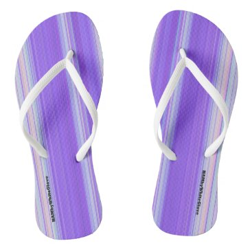Beach Themed HAMbyWG - Flip-Flops  Light Purple White Flip Flops