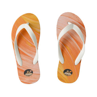 HAMbyWG Girls Flip-Flops - Orangy Swirl Kid's Flip Flops