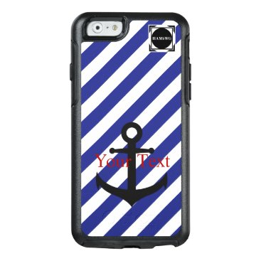 HAMbyWG  -  Navy & White Stripe Anchor Theme OtterBox iPhone 6/6s Case