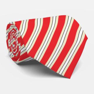 HAMbyWG - Neck Tie Red/Beige/White Vert. Stripe