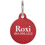 HAMbyWG - Pet Name Tag - Red & White Polka Dots