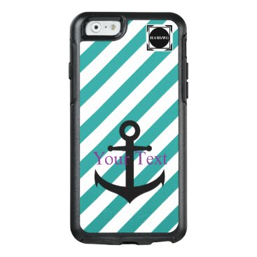 HAMbyWG  -  Teal & White Stripe Anchor Theme OtterBox iPhone 6/6s Case