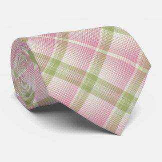HAMbyWG - Tie- Bone/Pink/Pale Green Diag. Plaid Tie