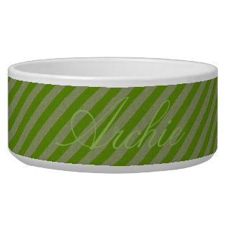 HAMbyWhiteGlove - Dog food Bowl - Green Diagonal
