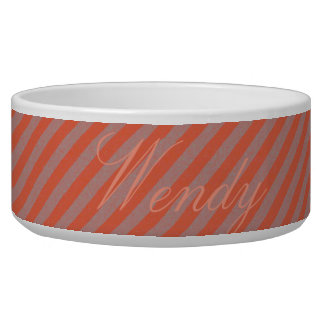 HAMbyWhiteGlove - Dog food Bowl - Orange Diagonal