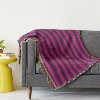 HAMbyWhiteGlove - Throw Blankets - Fushcia Stripes