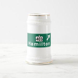 Hamilton, Canada Road Sign Beer Stein