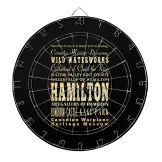 Hamilton City of Ontario Typography Art Dartboard With Darts