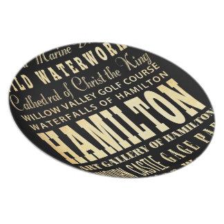 Hamilton City of Ontario Typography Art Plate