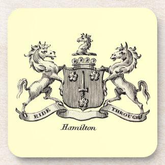 HAMILTON FAMILY CREST BEVERAGE COASTER