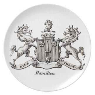 HAMILTON FAMILY CREST MELAMINE PLATE