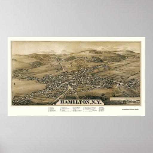 Hamilton, NY Panoramic Map - 1885 Poster