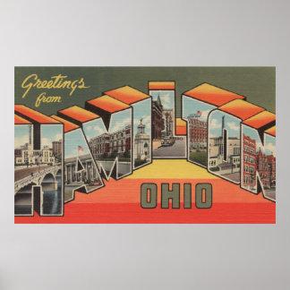 Hamilton, Ohio - Large Letter Scenes Poster