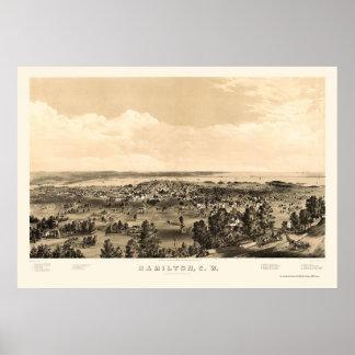 Hamilton, ON, Canada Panoramic Map - 1859 Poster