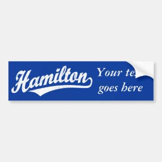 Hamilton script logo in white distressed car bumper sticker