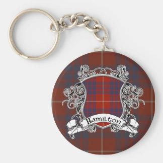 Hamilton Tartan Shield Basic Round Button Keychain