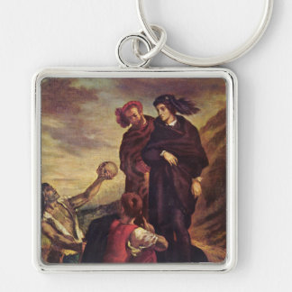 'Hamlet and Horatio in the Cemetary' Silver-Colored Square Keychain