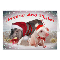 Hamlet and Piglet Merry Christmas Card