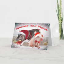 Hamlet and Piglet Merry Christmas Holiday Card