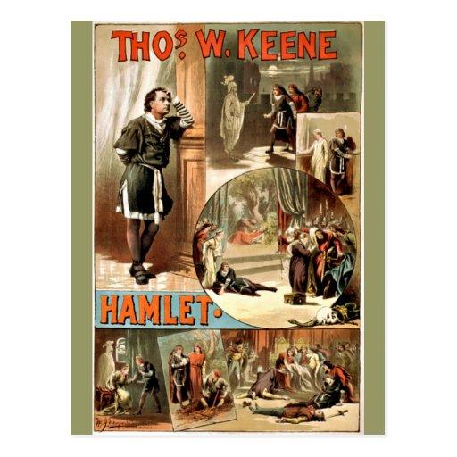 Hamlet de Shakespeare del vintage, 1884, Postal