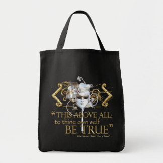 "Hamlet ""own self be true"" Quote (Gold Version) Grocery Tote Bag"